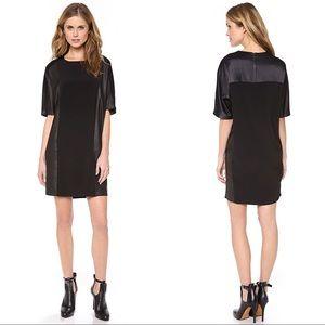 Vince Texture Block Black Leather Mini Dress XS